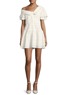 Self Portrait One-Shoulder Broderie Anglaise Mini Dress
