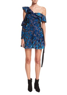 Self Portrait Self-Portrait One-Shoulder Eyelet Devoré Wrap Mini Dress