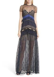 Self Portrait Self-Portrait Paneled Lace Maxi Dress