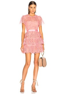 Self Portrait self-portrait Pink Tiered Lace Mini Dress