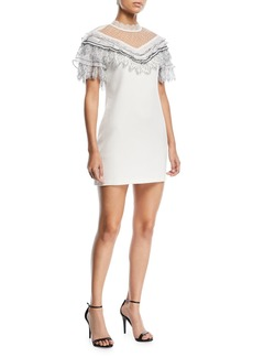 Self Portrait Pleated Trim A-Line Mini Crepe Cocktail Dress