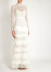c4155d7dc1bdb Self Portrait Self-portrait Primrose tiered crepon and guipure-lace gown