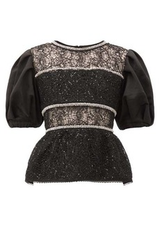 Self Portrait Self-Portrait Puff-sleeved crystal-embellished lace top