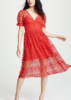 Self Portrait Red Lace Midi Dress