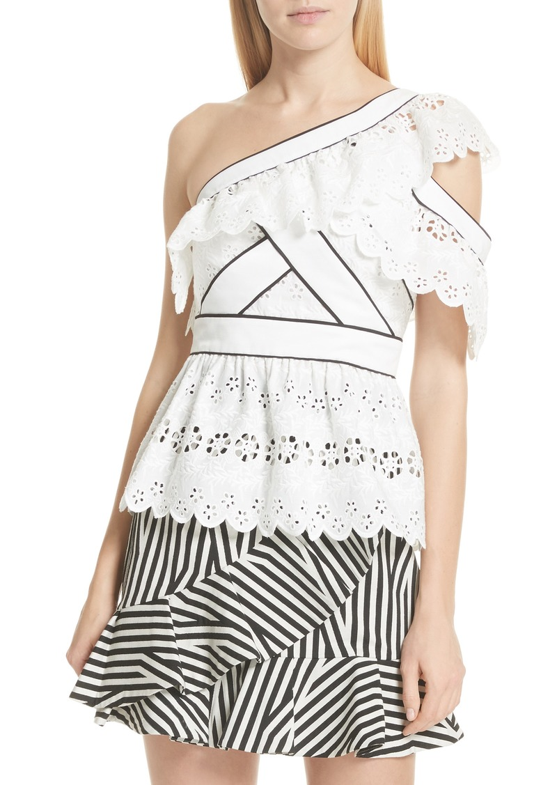 6acdde131bb3be Self Portrait Self-Portrait Ruffle Broderie Anglaise One-Shoulder ...