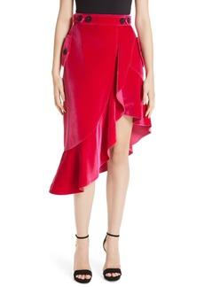 Self Portrait Self-Portrait Ruffle Trim Velvet Skirt