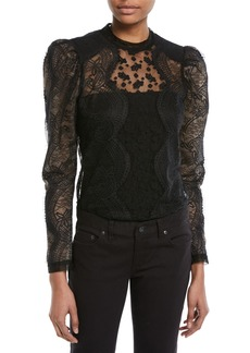 Self Portrait Self-Portrait Scalloped Floral Lace Puff-Sleeve Top