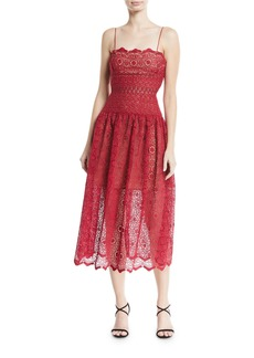 Self Portrait Sleeveless Floral-Lace Midi Cocktail Dress