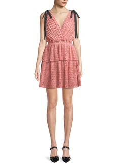 Self Portrait Self-Portrait Sleeveless Organza Cutwork Mini Dress