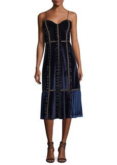 Self Portrait Sleeveless Velvet Paneled Midi Dress