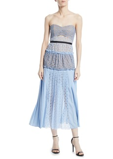 Self Portrait Strapless Floral Cutout Cocktail Dress