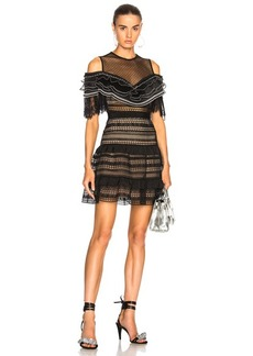 Self Portrait self-portrait Stripe Paneled Lace Dress