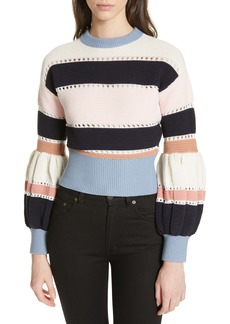 Self Portrait Self-Portrait Stripe Puff Sleeve Crop Sweater