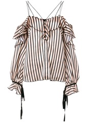 Self Portrait striped cold shoulder top