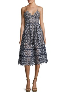 Self Portrait Sweetheart Azaelea Lace Fit-and-Flare Tea-Length Cocktail Dress