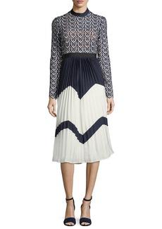 Self Portrait Self-Portrait Sweetheart Long-Sleeve Crochet-Lace Midi Dress