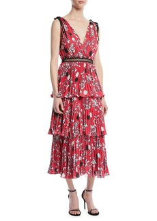Self Portrait Tiered Floral Crepe de Chine Midi Dress