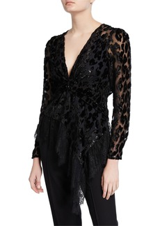 Self Portrait Self-Portrait Twisted Metallic Peplum Top with Lace