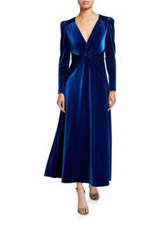 Self Portrait Self-Portrait Twisted Velvet Long-Sleeve Dress