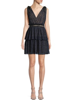 Self Portrait V-Neck Sleeveless Metallic Mesh Cocktail Dress
