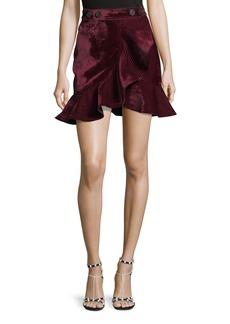 Self Portrait Velvet Flounce Mini Skirt