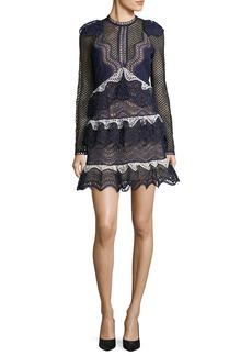 Self Portrait Wave-Guipure Lace Mini Cocktail Dress