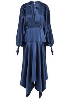 Self Portrait Self-portrait Woman Asymmetric Cutout Satin Peplum Midi Dress Storm Blue