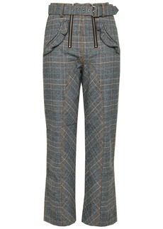 Self Portrait Self-portrait Woman Belted Checked Tweed Straight-leg Pants Gray