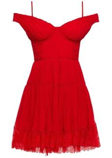 Self Portrait Self-portrait Woman Cold-shoulder Gathered Chiffon Mini Dress Red