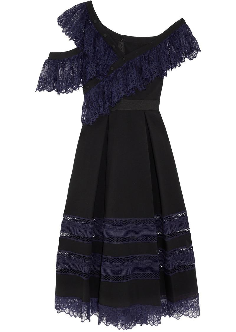 Self Portrait Self-portrait Woman Off-the-shoulder Chantilly Lace-trimmed Cady Midi Dress Black