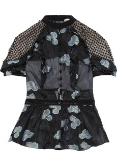 Self Portrait Self-portrait Woman Open-back Embroidered Organza And Guipure Lace Peplum Top Black
