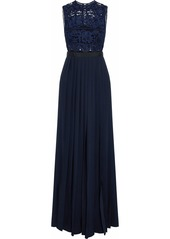Self Portrait Self-portrait Woman Pleated Layered Lace-paneled Crepe Gown Navy