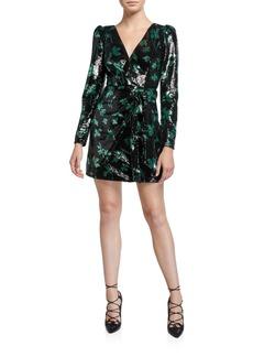 Self Portrait Sequined Leaf Long-Sleeve Mini Dress