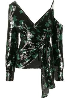 Self Portrait sequined leaf pattern blouse