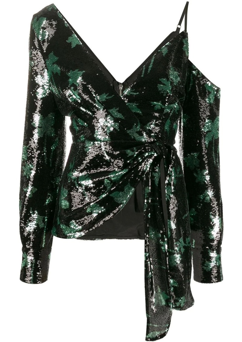 Self Portrait sequined leaf pattern blouse
