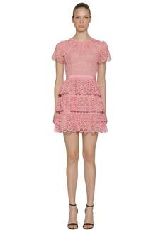 Self Portrait Short Sleeve Lace Tiered Mini Dress
