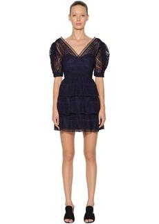 Self Portrait Spiral Lace Mini Dress W/balloon Sleeves