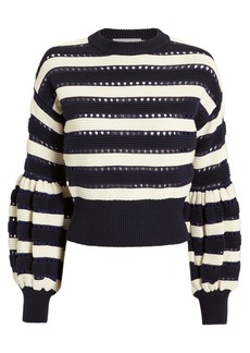 Self Portrait Striped Balloon Sleeve Sweater
