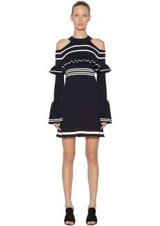 Self Portrait Striped Frill Knitted Mini Dress