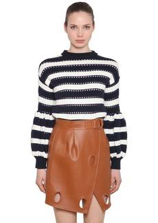 Self Portrait Striped Puff Sleeve Cotton Blend Sweater