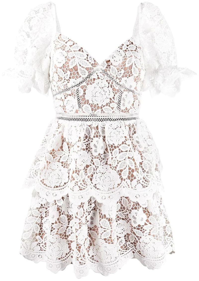 Self Portrait sweetheart-neckling lace mini dress