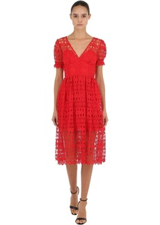 Self Portrait Tech Lace Midi Dress
