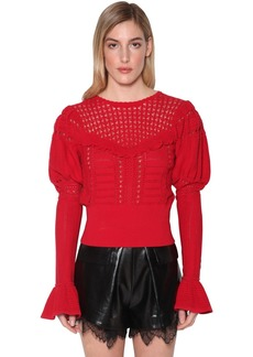 Self Portrait Techno Knit Lace Top