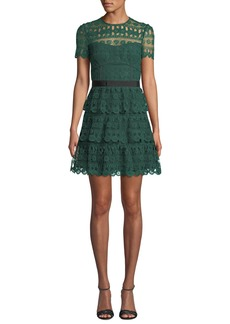 Self Portrait Tiered Lace Guipure Short-Sleeve Cocktail Dress