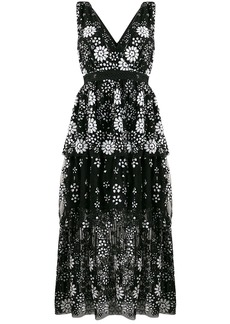 Self Portrait V-neck floral sequin dress