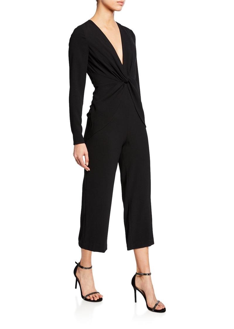 Self Portrait V-Neck Long-Sleeve Twist-Front Cropped Jumpsuit