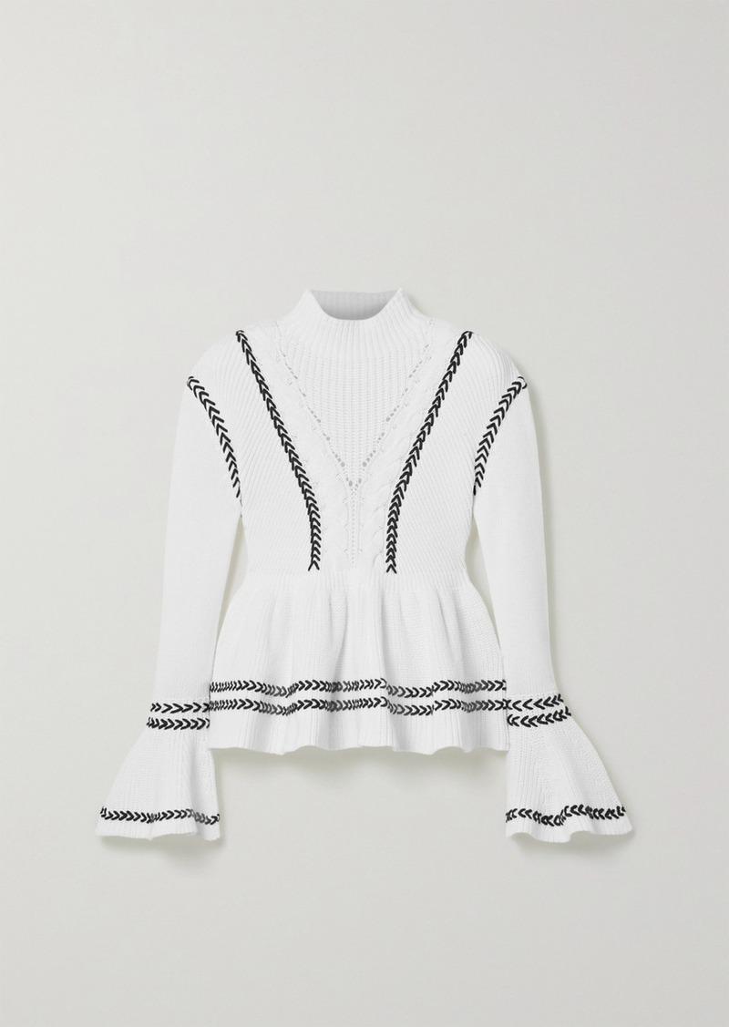 Self Portrait Whipstitched Cotton Peplum Sweater