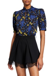Self Portrait Wildflower Printed Crepe Top