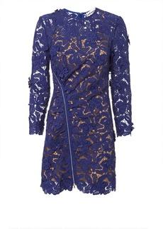 Self Portrait Zip Detail Blue Guipure Lace Mini Dress