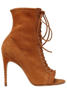 Sergio Rossi 105mm Micro Studs Suede Lace-up Boots
